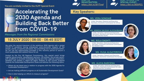 "HLPF Special Event ""Accelerating the 2030 Agenda and Building Back Better from COVID-19″, 15 July 2020"